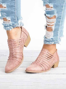 PMS Boots Pink / us5 Plain  Chunky  Mid Heeled  Point Toe  Outdoor Ankle Boots