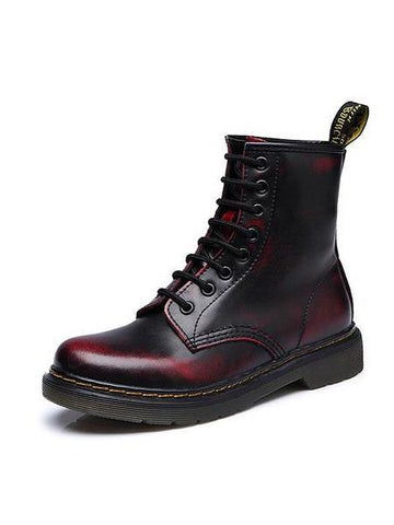 PMS Boots Red / 35 Autumn winter flat low-heeled British Martin boots in the tube couple leather short motorcycle boots