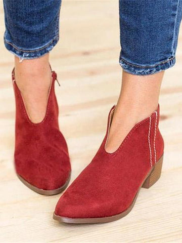 PMS Boots Red / us5 Casual Deep V Sexy Zipper Ankle Boots