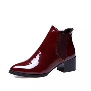 PMS Boots Red / us5 High-Heeled Sharp Head Coarse Heel Leather Boots