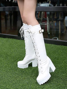 PMS Boots White / 35 Autumn and winter new Martin women's boots high boots with high heel and thick with