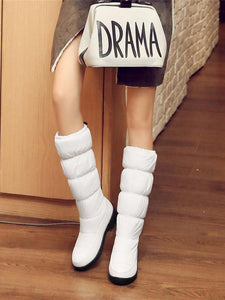 PMS Boots White / 35 Winter Non-Slip Warm High Tube Thick Bottom Large Size 40-44 Down Female Boots