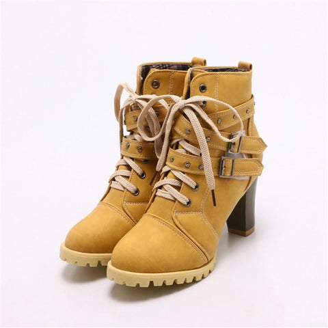 PMS Boots Yellow / us4 Fashion Rivet Round Head With Thick Heel Boots