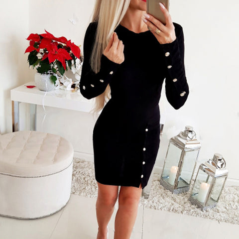 Casual Round Neck Pure Color Decorative Buttons Dress