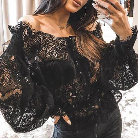 Fashion Lace Collar Lantern Sleeve Shirt