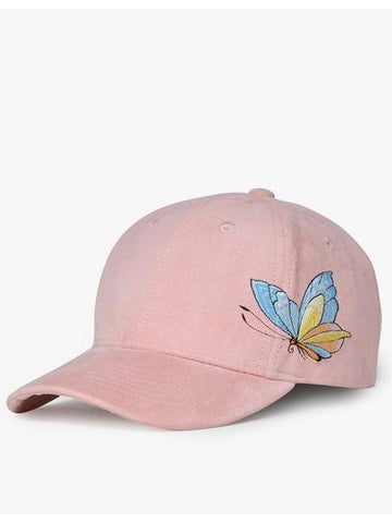 PMS Caps Pink / one size Autumn and winter hat suede embroidered baseball cap thickened cap