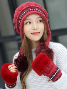 PMS Caps Red / one size Thick warm earmuffs knit cap