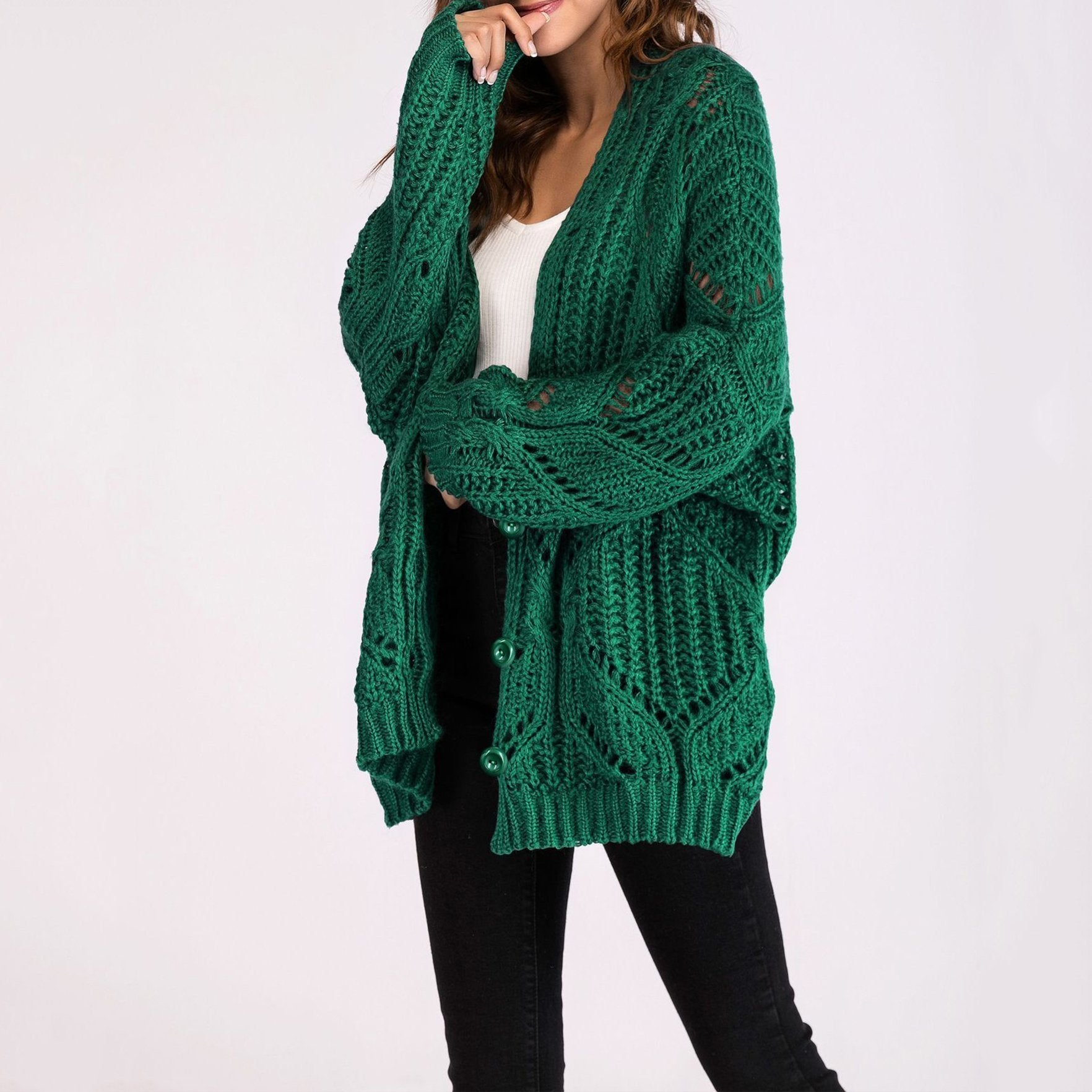 PMS Cardigan Green / one size Women's Fashion Long Sleeves Hollow Sweater Cardigan