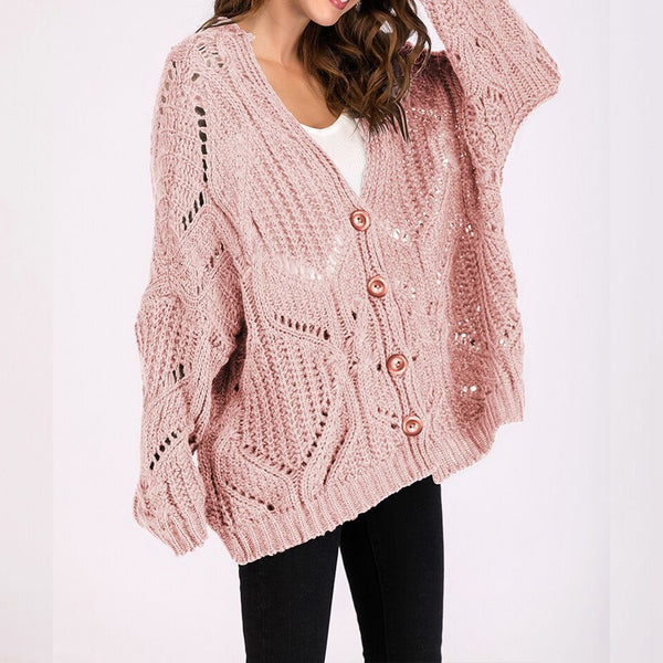 PMS Cardigan Pink / one size Women's Fashion Long Sleeves Hollow Sweater Cardigan
