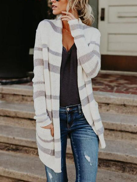 PMS Cardigan white / s Fashion Striped Long Knitted Cardigan