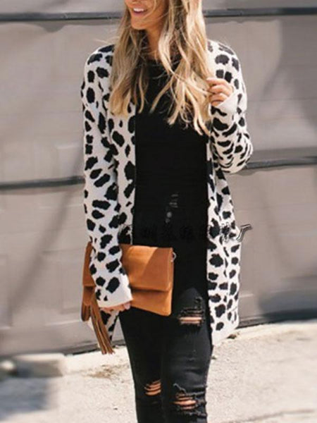PMS Cardigans apricot / s Fashion Leopard Printed Long Sleeve Knit Cardigan