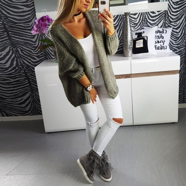 PMS Cardigans army_green / m Casual Loose Long Sleeve Plain Cardigans