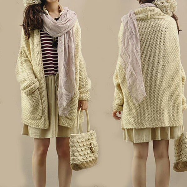 PMS Cardigans beige / one size Solid Bat Sleeve Knit Cardigan