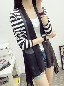 PMS Cardigans black / one size Fold-Over Collar  Asymmetric Hem Patchwork  Striped  Long Sleeve Cardigans