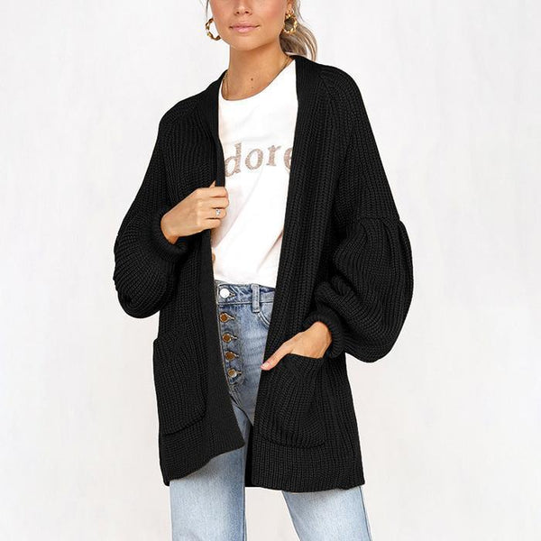 PMS Cardigans black / s Four-Color Puff Sleeve Pocket Cardigan Sweater