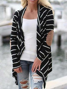 PMS Cardigans black / s Snap Front  Striped  Casual Cardigans
