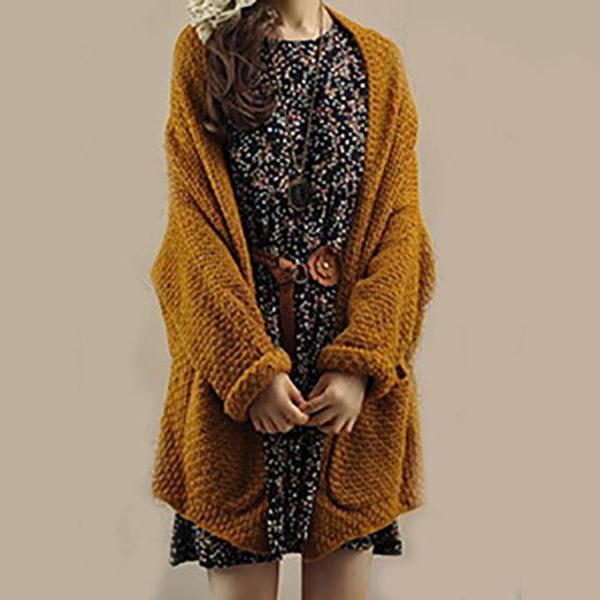 PMS Cardigans camel / one size Solid Bat Sleeve Knit Cardigan