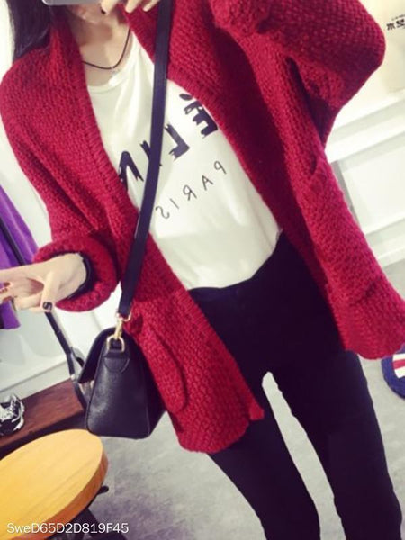 PMS Cardigans claret / one size Solid Bat Sleeve Knit Cardigan