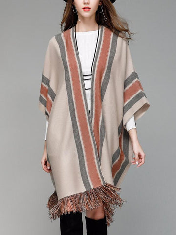 PMS Cardigans coffee / one size Knitwear Shawl Cardigans Striped Tassel Sweaters Cardigans