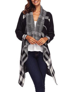 PMS Cardigans gingham_plaid / s Irregular One Button Plaid Wool Cardigan