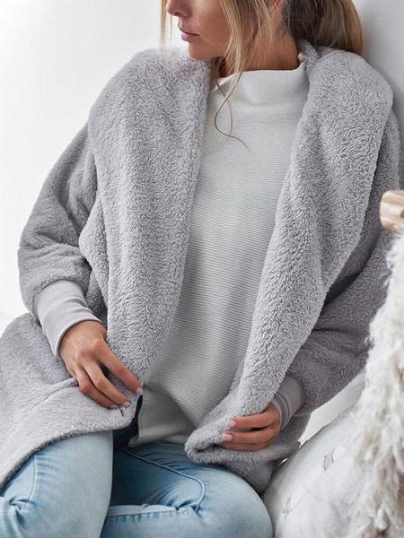 PMS Cardigans gray / s Fashion Casual Long Sleeves Plush Hooded Loose Cardigans
