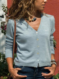 PMS Cardigans gray / s Fashion Solid Color  Sweater Cardigans