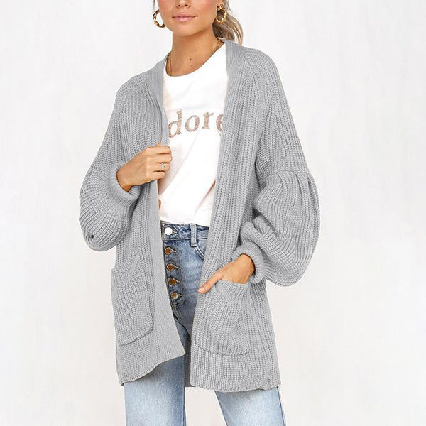 PMS Cardigans gray / s Four-Color Puff Sleeve Pocket Cardigan Sweater