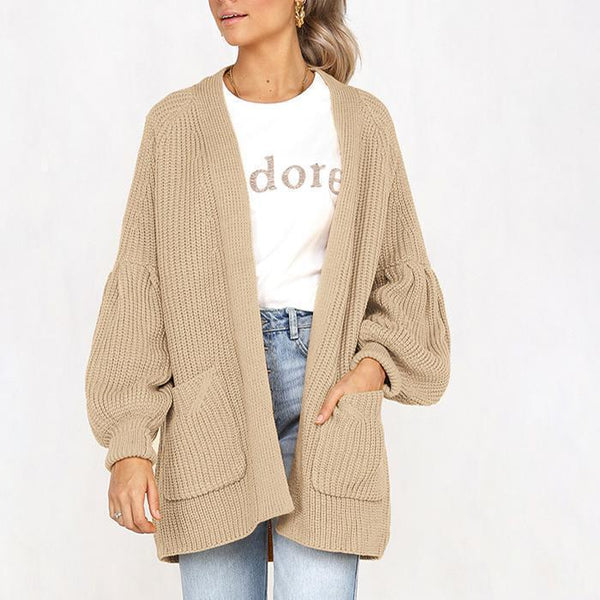 PMS Cardigans khaki / s Four-Color Puff Sleeve Pocket Cardigan Sweater