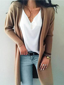 PMS Cardigans Khaki / s Women Long Sleeve Casual Cardigan Sweater