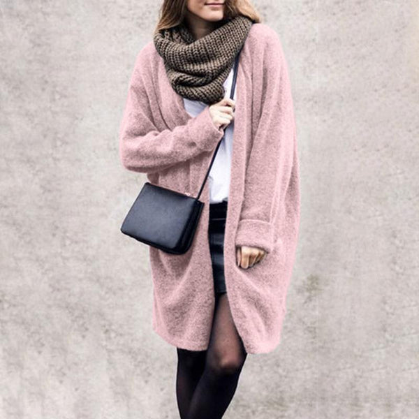 PMS Cardigans Pink / s Casual Long Sleeve Loose Plain Cardigans