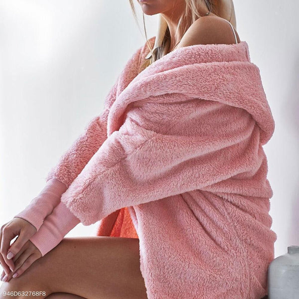 PMS Cardigans pink / s Fashion Casual Long Sleeves Plush Hooded Loose Cardigans