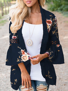 PMS Cardigans sky_blue / s Lace Splicing Flare Sleeves Floral Cardigan