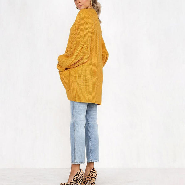 PMS Cardigans yellow / s Four-Color Puff Sleeve Pocket Cardigan Sweater