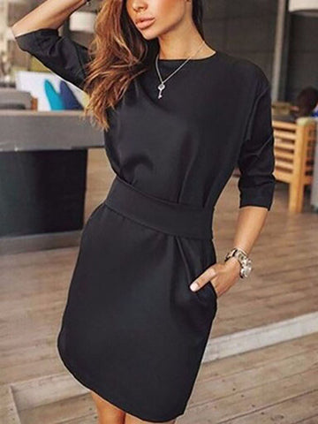 PMS Casual Dress Black / s Crew Neck  Cutout  Belt Belt Loops Bust Darts  Plain Shift Dresses