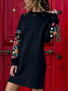 PMS Casual Dress Black / s Round Neck  Floral Printed  Long Sleeve Casual Dress