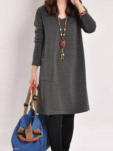 PMS Casual Dress Gray / m Round Neck  Patch Pocket  Plain Shift Dress