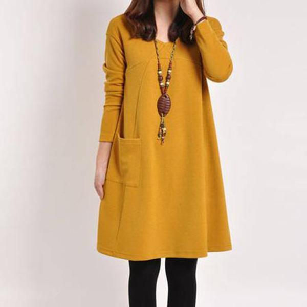 PMS Casual Dress Yellow / m Casual V-Neck Solid Patch Pocket Shift Dress