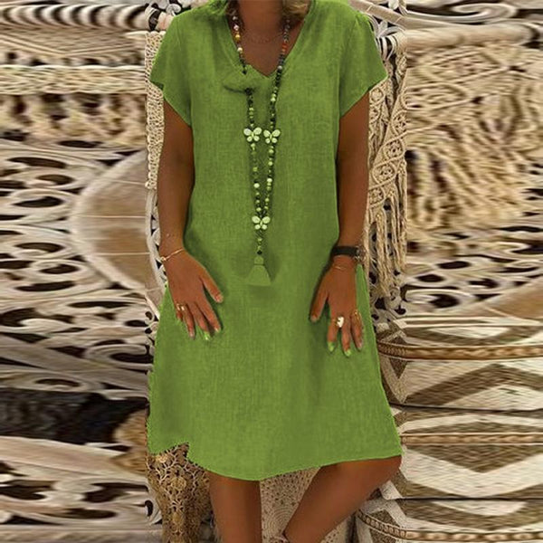 PMS Casual Dresses Army Green / s Elegant V Neck Short Sleeve Plain Casual Dress