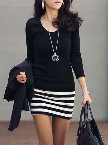 PMS Casual Dresses black / 5xl Cheap Striped Mini Bodycon Dress
