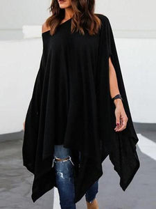 PMS Casual Dresses black / l Loose Asymmetrical Hem Batwing Sleeve Casual Dress