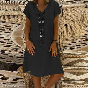 PMS Casual Dresses Black / s Elegant V Neck Short Sleeve Plain Casual Dress