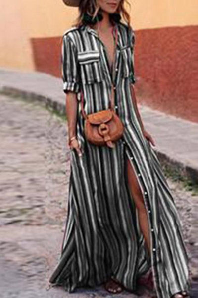 PMS Casual Dresses Black / s Fashion Stripes Half Sleeve Vacation Maxi Dresses