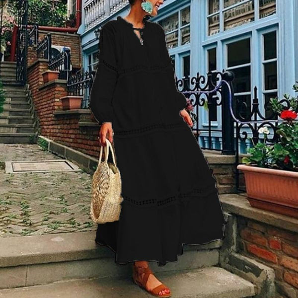 PMS Casual Dresses Black / s V Neck Lantern Sleeve Hollow Out Maxi Dress