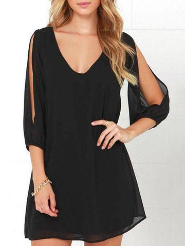 PMS Casual Dresses black / xl V Neck  Cutout  Plain  Three Quarter Sleeve Casual Dresses