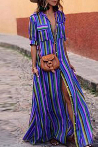 PMS Casual Dresses Blue / s Fashion Stripes Half Sleeve Vacation Maxi Dresses