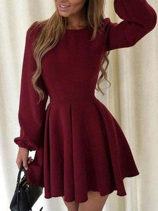 PMS Casual Dresses claret_red / s Women's Round Neck Princess Puff Sleeve Dress