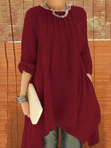 PMS Casual Dresses crimson / s Fashion Loose Round Collar Shift Casual Dress
