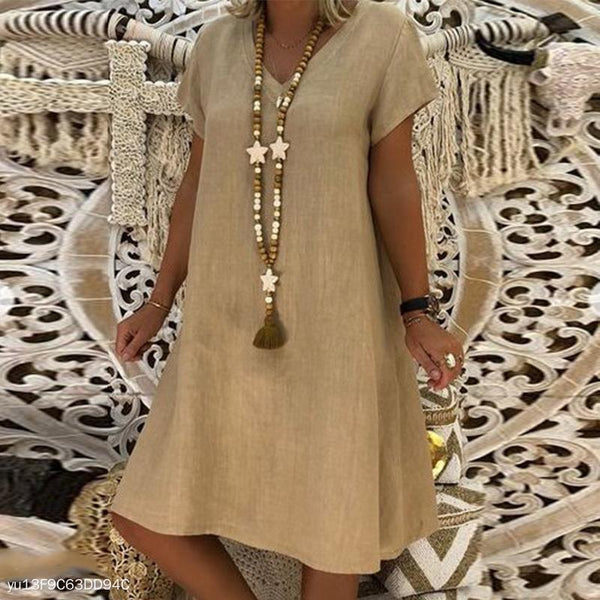 PMS Casual Dresses Khaki / s Elegant V Neck Short Sleeve Plain Casual Dress