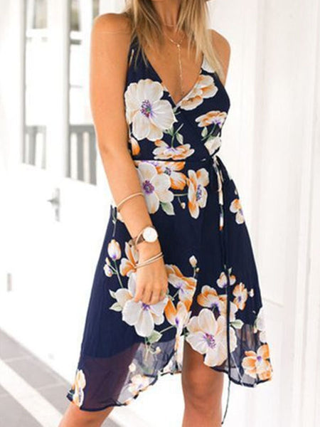 PMS Casual Dresses navy_blue / s Spaghetti Strap  Asymmetric Hem Backless  Floral Printed  Sleeveless Casual Dresses