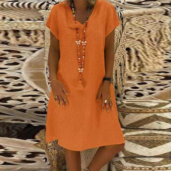 PMS Casual Dresses Orange / s Elegant V Neck Short Sleeve Plain Casual Dress